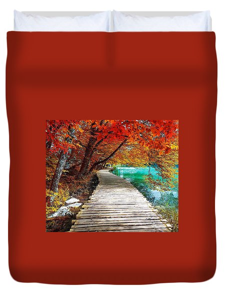 A Walkway By The Water Duvet Cover