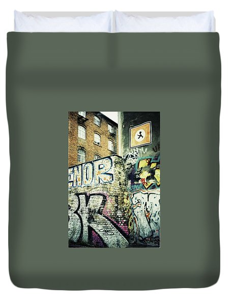 A Wall Of Berlin With Graffiti Duvet Cover