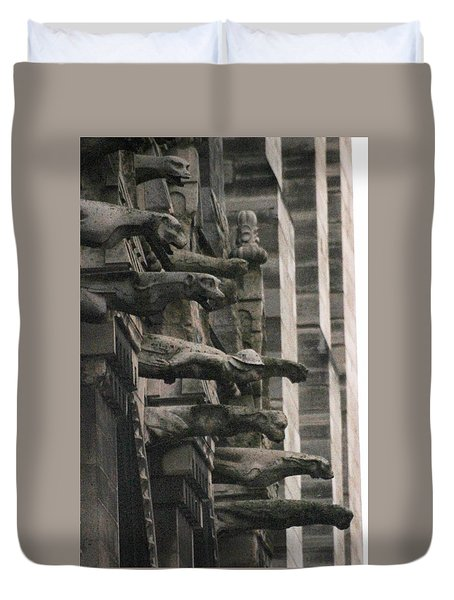 Duvet Cover featuring the photograph A Wall Of Gargoyles Notre Dame Cathedral by Christopher Kirby