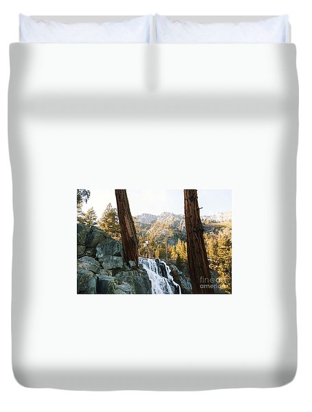 A Waterfall In The Mountains Duvet Cover by Rod Jellison