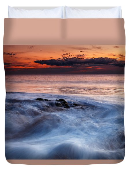 A Wave At Sunset Duvet Cover