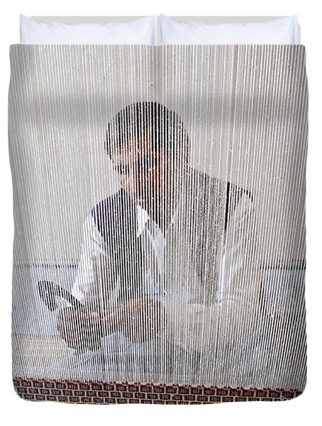 A Weaver Weaves A Carpet. Duvet Cover