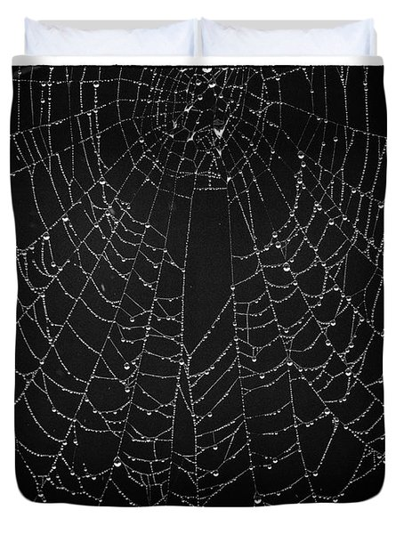 A Web Of Silver Pearls Duvet Cover