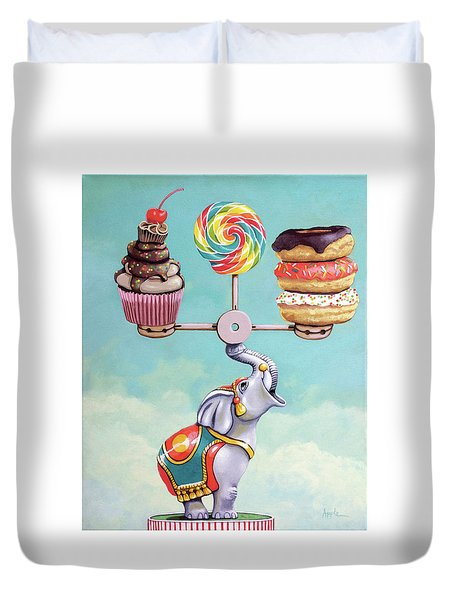 Duvet Cover featuring the painting A Well-balanced Diet by Linda Apple