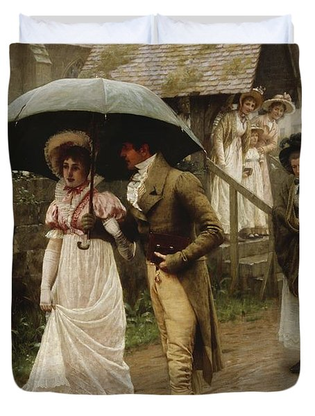 A Wet Sunday Morning Duvet Cover by Edmund Blair Leighton