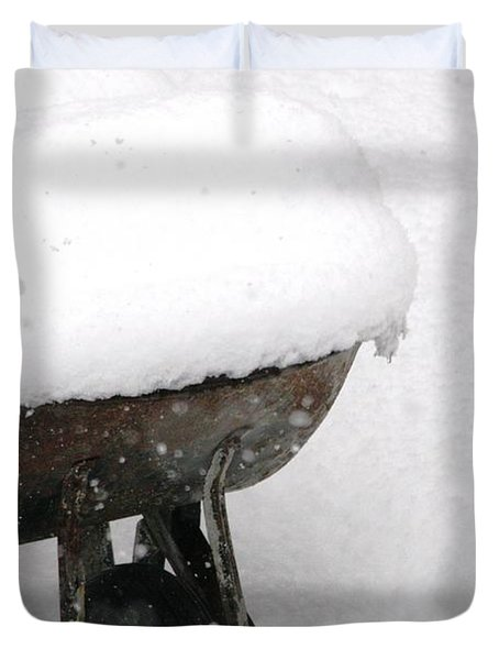 Duvet Cover featuring the photograph A Wheel Barrel Of Snow by Paul SEQUENCE Ferguson             sequence dot net