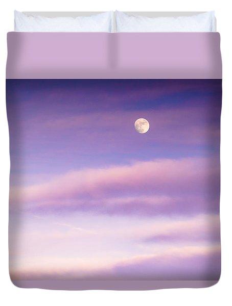 A White Moon In Twilight Duvet Cover