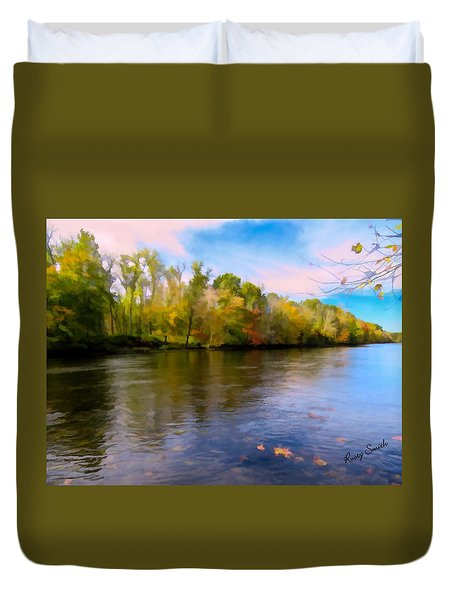 A Wide Scenic View Of Shetucket River. Duvet Cover