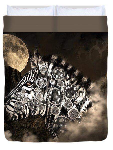 A Wild Steampunk Zebra Duvet Cover