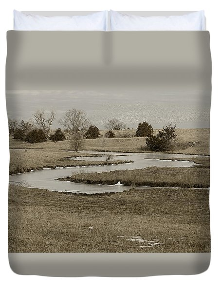 A Winding Creek In Winter As Geese Fly Overhead Duvet Cover