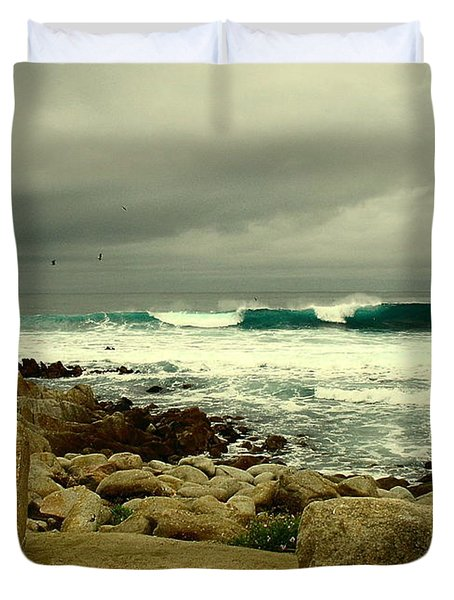 Duvet Cover featuring the photograph A Winter Day At The Beach by Joyce Dickens