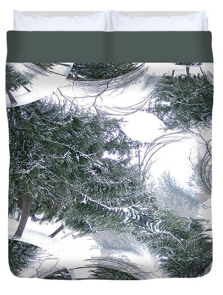 A Winter Fractal Land Duvet Cover