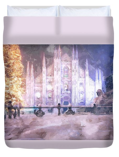 Duvet Cover featuring the painting A Winter In Milan by Mario Carini