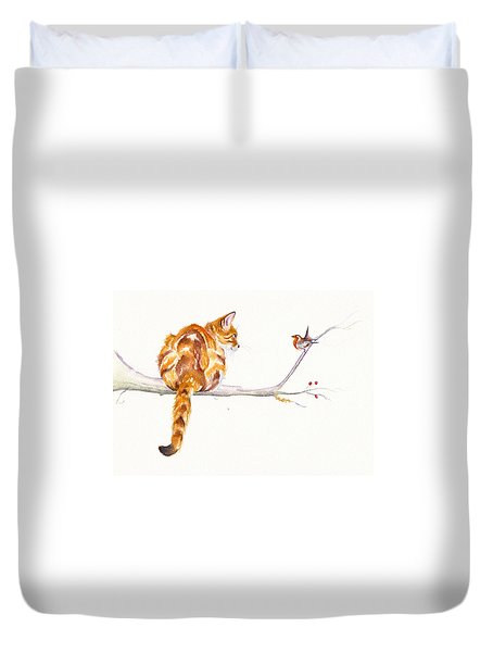 A Winter Meeting Duvet Cover