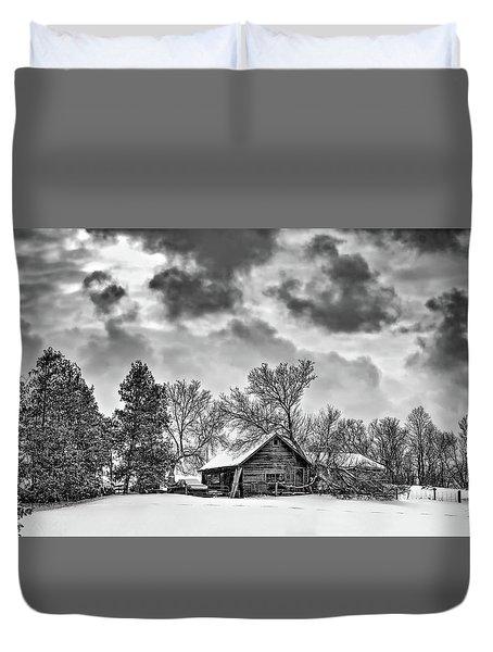 A Winter Sky Monochrome Duvet Cover by Steve Harrington