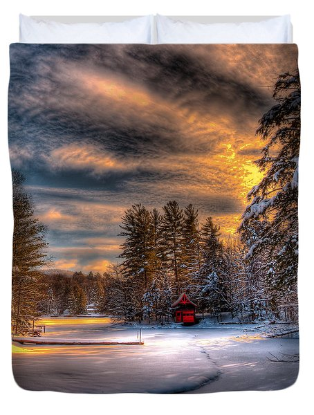 A Winter Sunset Duvet Cover