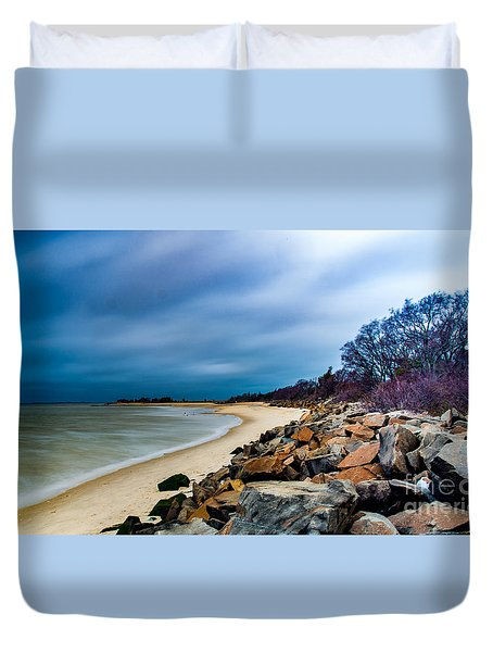 A Winter's Beach Duvet Cover