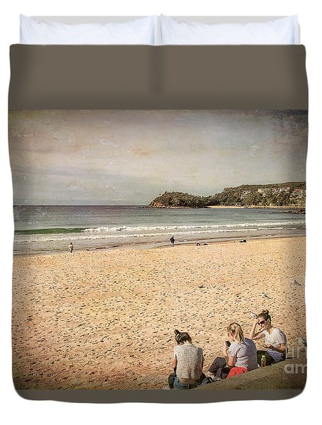 Duvet Cover featuring the photograph A Winter's Day In Manly by Elaine Teague