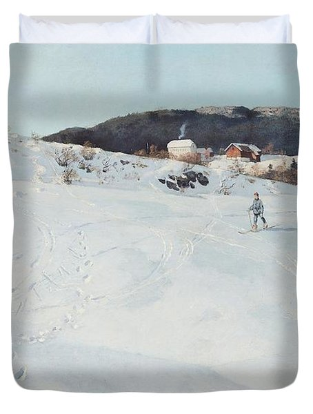 A Winter's Day In Norway Duvet Cover by Fritz Thaulow