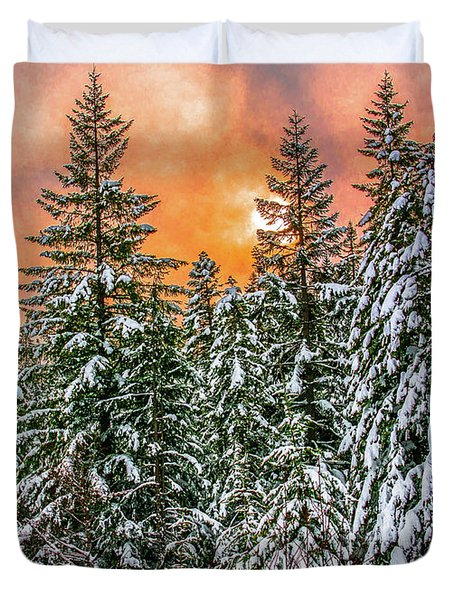A Winters Sky Set Ablaze Duvet Cover