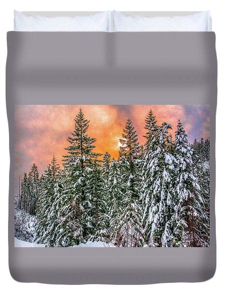 A Winters Sky Set Ablaze Duvet Cover