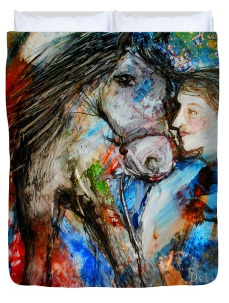 A Woman And Her Horse Duvet Cover