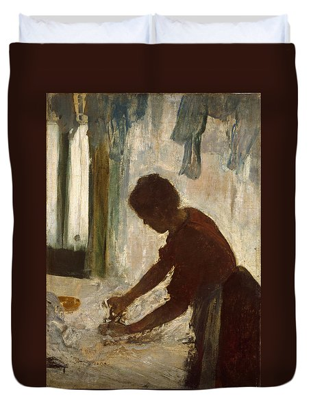 Duvet Cover featuring the painting A Woman Ironing by Edgar Degas