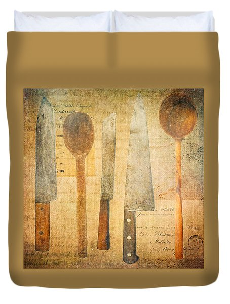 Duvet Cover featuring the digital art A Woman's Tools by Lisa Noneman
