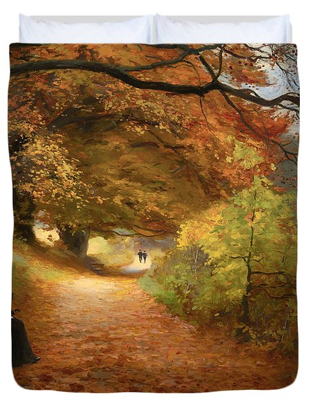 A Wooded Path In Autumn Duvet Cover by Mountain Dreams