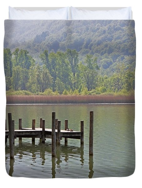 A Wooden Pier At A Small Lake Duvet Cover by Joana Kruse