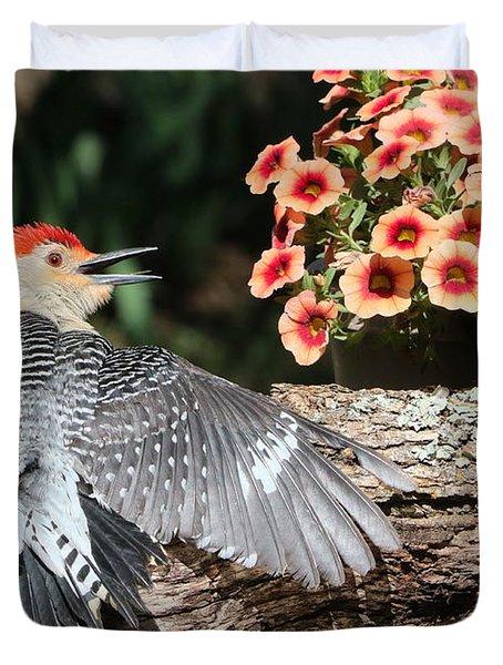 A Woodpecker Conversation Duvet Cover