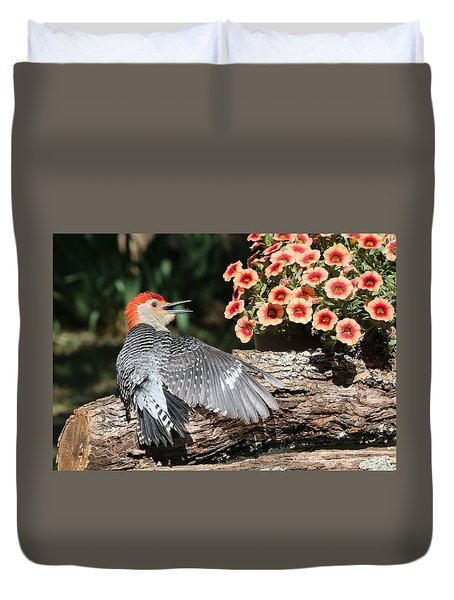 A Woodpecker Conversation Duvet Cover
