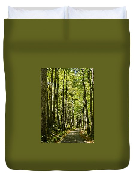 Duvet Cover featuring the photograph A Woodsy Trail by Wanda Krack