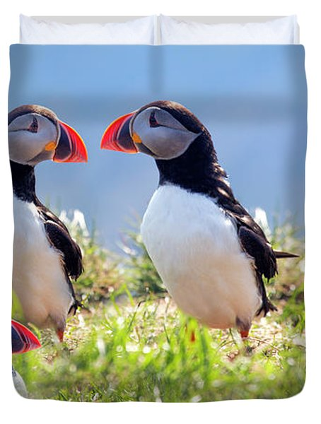 A World Of Puffins Duvet Cover
