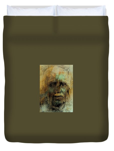 Duvet Cover featuring the digital art A Worried Mind by Jim Vance