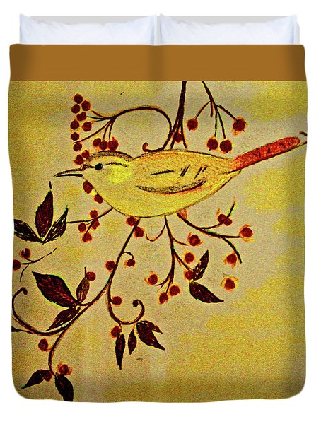 A Wren - In Pastel  Duvet Cover