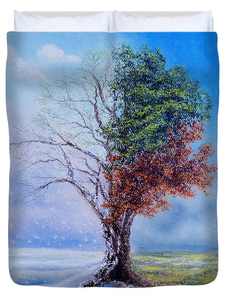 A Year In The Tree Of Life Duvet Cover by Stanza Widen