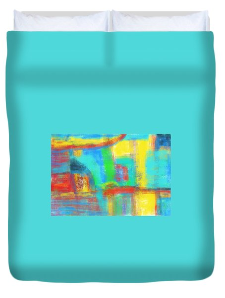 Duvet Cover featuring the painting A Yellow Day by Susan Stone