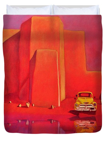 A Yellow Truck With A Red Moon In Ranchos Duvet Cover