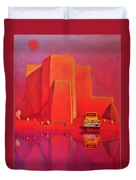 Duvet Cover featuring the painting A Yellow Truck With A Red Moon In Ranchos by Art West