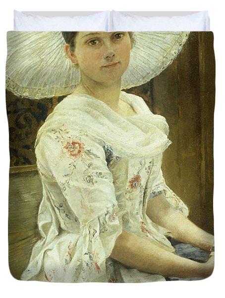A Young Beauty In A White Hat  Duvet Cover by Franz Xaver Simm