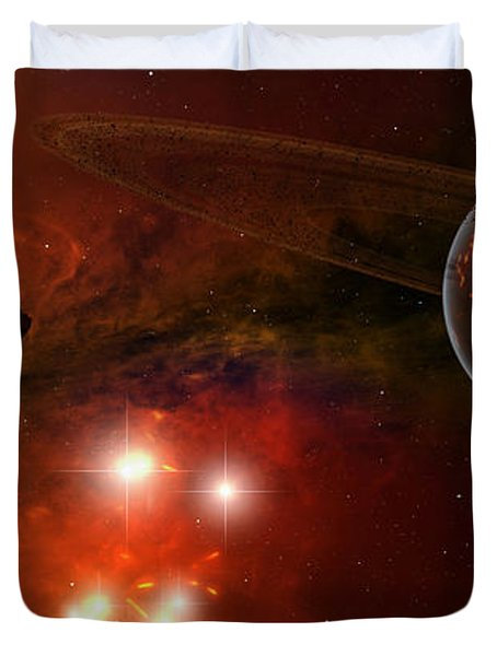 A Young Ringed Planet With Glowing Lava Duvet Cover by Frieso Hoevelkamp