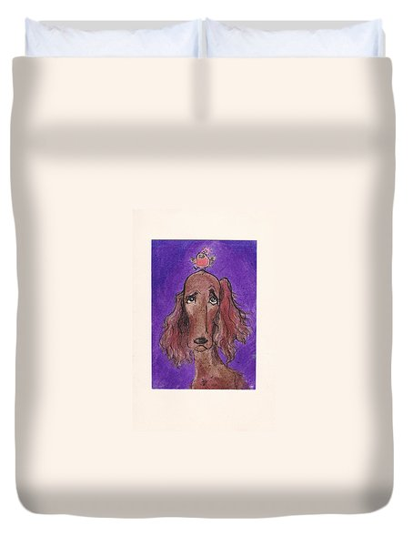 a7  Christmas Setter Duvet Cover by Charles Cater