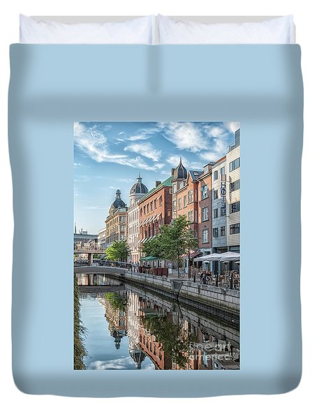 Duvet Cover featuring the photograph Aarhus Afternoon Canal Scene by Antony McAulay