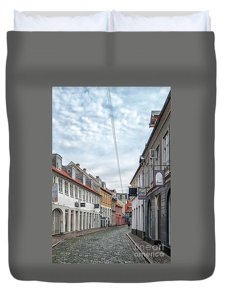 Duvet Cover featuring the photograph Aarhus Backstreet Scene by Antony McAulay