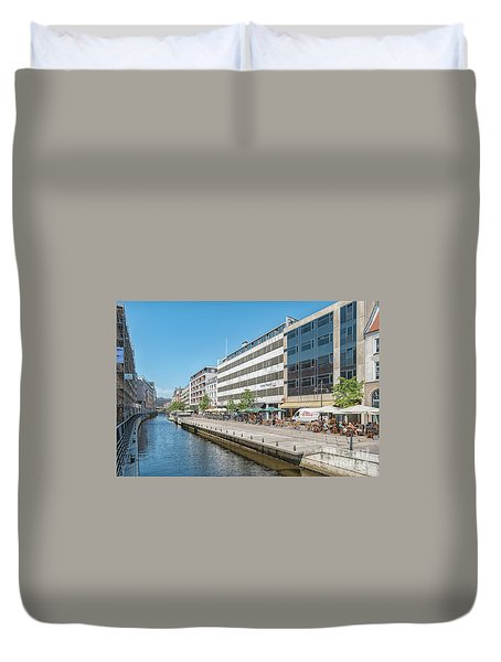 Duvet Cover featuring the photograph Aarhus Canal Activity by Antony McAulay