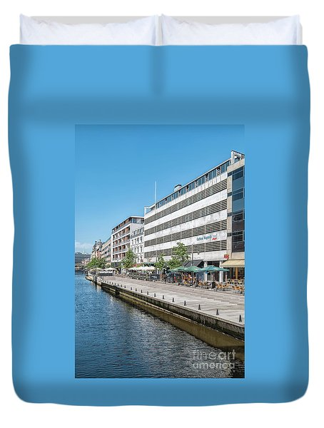 Duvet Cover featuring the photograph Aarhus Canal Scene by Antony McAulay