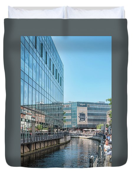 Duvet Cover featuring the photograph Aarhus Lunchtime Canal Scene by Antony McAulay