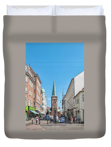 Duvet Cover featuring the photograph Aarhus Street Scene by Antony McAulay