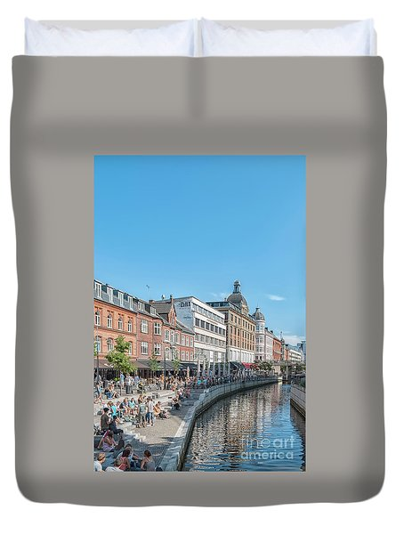 Duvet Cover featuring the photograph Aarhus Summertime Canal Scene by Antony McAulay